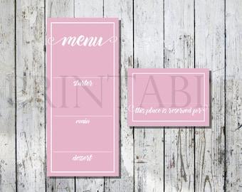 Pink Printable Wedding Menu and Placecard Set