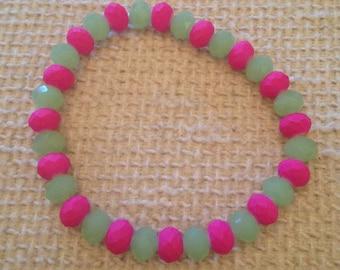 Goyave (Green & Pink Handmade Beaded Bracelet)