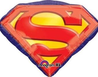 """Superman Party Balloon-26"""" Mylar Balloon- Superhero Party Theme-Superman Emblem"""