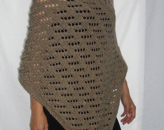 Knit Poncho, Hand Knitted Taupe