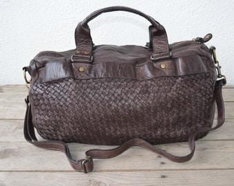Woven Leather Bag Pauline in brown- vintage look