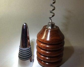 Bottle stopper w/ cork screw