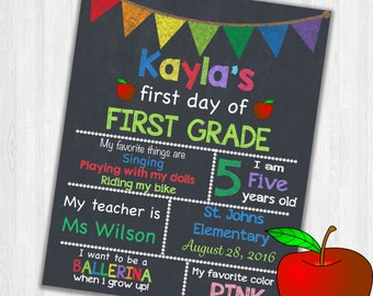 First Day Of First Grade Back To School Sign