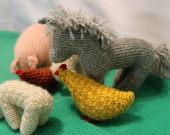 Farmyard - set of hand knitted pure wool farm animals