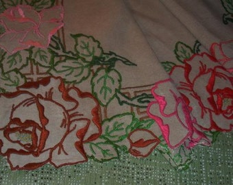 Top of Cabinet vintage embroidery of roses, valance, curtain