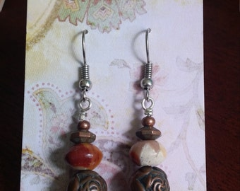 Copper & Mookaite Earrings