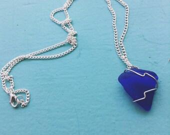 Royal Blue Sea Glass Necklace