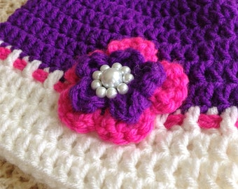 Pink and Purple Crocheted Toddler Hat with Flower