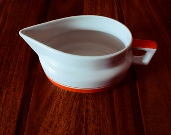 small milk pot / creamer art deco French porcelain white and orange