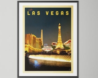 Las Vegas Strip By Night. Wall Art, Giclee Print, Vintage Style, Cityscape, Travel Poster