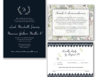 Navy Succulents Classic Wedding Invitation Stationary Set