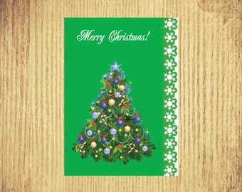 Christmas Tree ~ Holiday Card ~ 5 by 7 ~ Digital Download Only