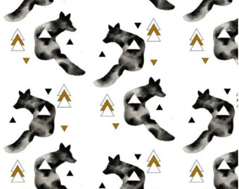 Minky Fitted Crib Sheet - Black & White Wolf Nursery Bedding - Wolf Toddler Bedding - Wolf Crib Bedding  - Black White and Gold Nursery