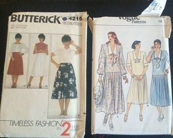 2 x Vintage 1980s Dress/Skirt Sewing Patterns