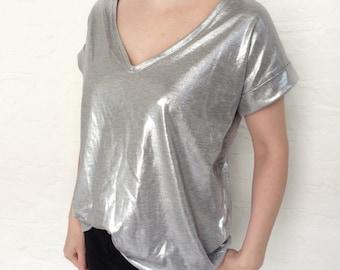 silver tunic, tunic top, oversiezed top