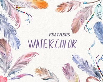 Watercolor Colorful Feathers