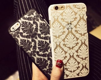 Vintage Rubberized Damask Pattern Matte  Case Cover  For iPhone 6 / 6s