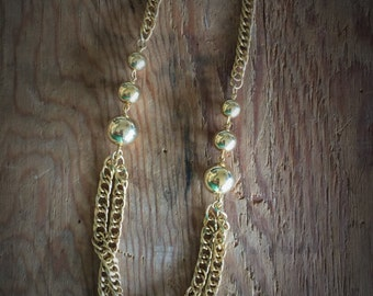 Vintage Gold Chain and Bead Necklace