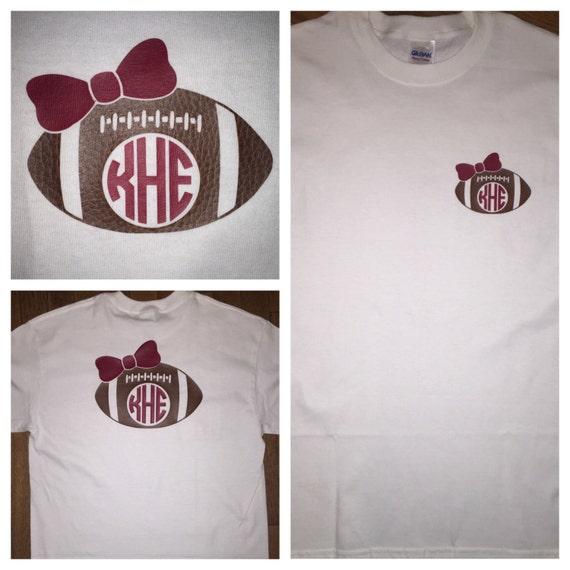 Custom Football Monogram Shirt - Football Number Shirt - NFL Theme Colors - Football Mom - Pick Your Colors  - Realistic football material