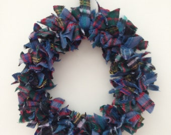 Shades of blue tartan wreath