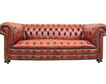Red Leather Chesterfield Sofa c.1980