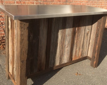Bar Server -Reclaimed Wood Stainless Top Custom Bar Server Island with Reclaimed Barnwood