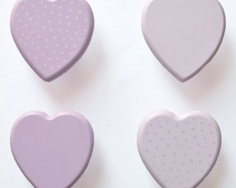 Heart Drawer Knobs. Girls Room. Nursery. Lilac and Mauve. Plain and Polka Dot. Look great as mix n match.