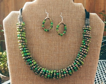 Handmade beaded necklace and earring set - Green and Brown (made to order)