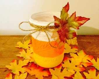 Candy Corn Fall Autumn Leaves Mason Jar Candle Holder