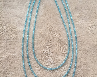Clear blue seed beaded necklace