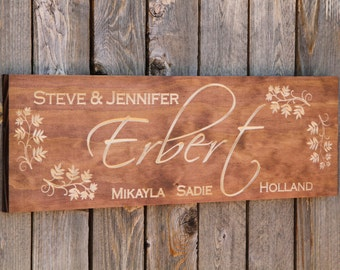 Stained Family Name Sign, Engraved, Family Name, Sign, Wedding Gift, Housewarming Gift, Bridal Gift, Carved, Plaque