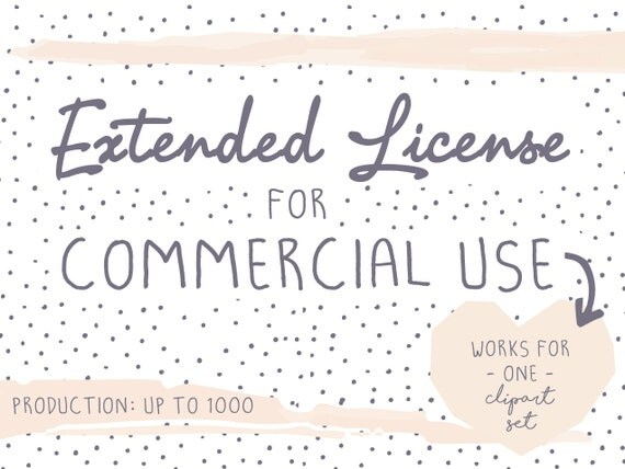 Extended License for commercial use, Production quantity up to 1000, digital graphics, illustrations, clipart-set