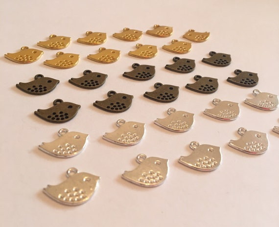 Bulk 30pc Dotted Bird Charms Mixed Colours. Pendant connector Findings Jewellery Making Favors Embellishment Beading Scrapbooking Necklace