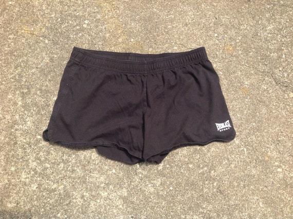 Vintage 90s EVERLAST brand black athletic shorts, sporty spice, elastic waistband with drawstring, size Medium