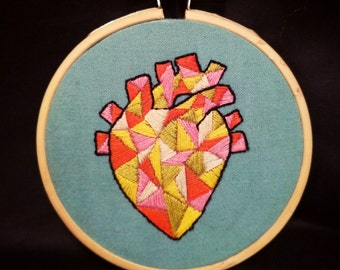 Geometric anatomical heart hand embroidery