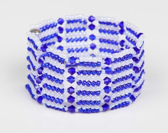 Christmas Sapphire White Beaded Sport Swarovski Bicone Bracelet,Blue White Woven Bracelet,Chevron Bracelet,Herringbone Bracelet,Gift, UK