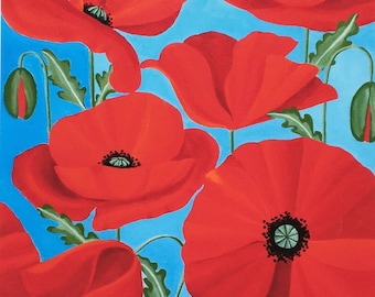 Poppies and Summer Skies - Limited edition, signed print
