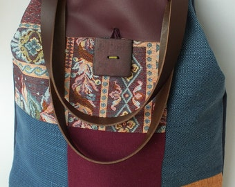 AMINA: large patchwork purse, fully lined in cotton fabric, 2 pockets, handles and leather handmade button closure