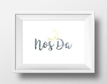 Nos Da Welsh Language print. Ideal for bedroom or nursery.