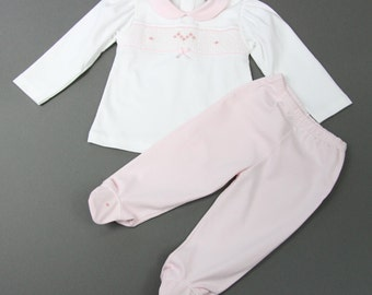 Baby Girl Pima Cotton Smocked Pink White Top Pant Set with Hand Embroidery Peter Pan Collar - 9/12