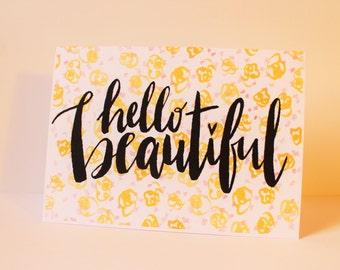 Hello Beautiful Card - Popcorn Confetti