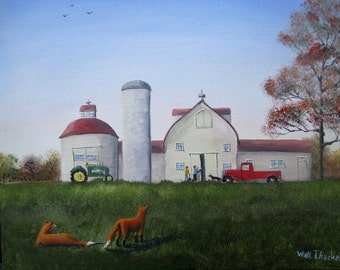 """Two Foxes at Normandy Farm  11 x 14"""""""