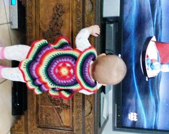 Crocheted circular rainbow vest: 'Sunset'