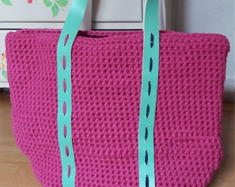 Crochet & Leather Tote Bag