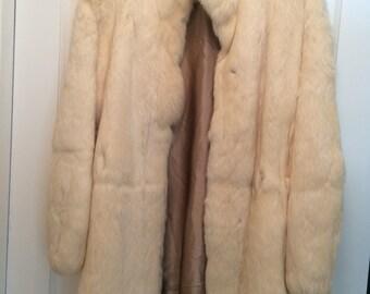 Cream Rabbit Fur Coat