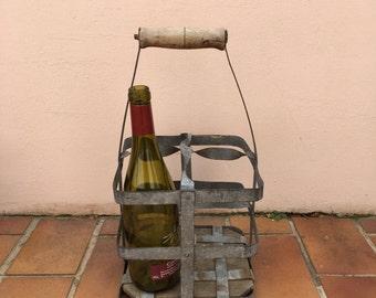 ANTIQUE VINTAGE FRENCH Handmade Metal 4 zinc Bottle Wine Carrier Basket 7