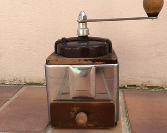 Vintage PEUGEOT FRERES Coffee Grinder Mill, French, Hand Crank Grinder metal