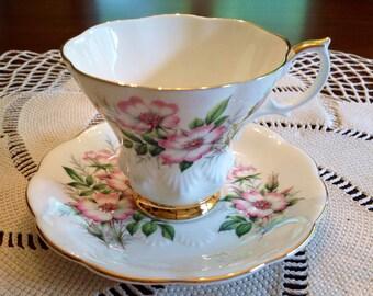 Royal Albert Wild Rose teacup and saucer