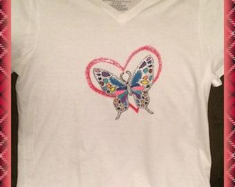 Butterfly Heart T-shirt Hand Painted Glittery