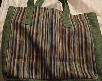 Brown & Green Multi Tote Bag